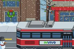 An 8-bit festive scene, featuring a snowman running behind a Toronto streetcar.