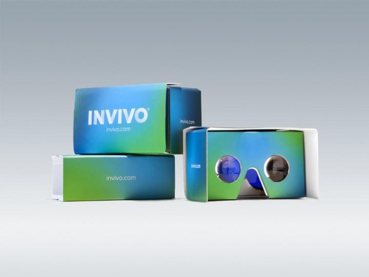Three INVIVO-branded Google Cardboard virtual reality kits, designed to showcase the Bloodstream and CNS Explorer.